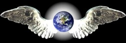 angel wings with globe